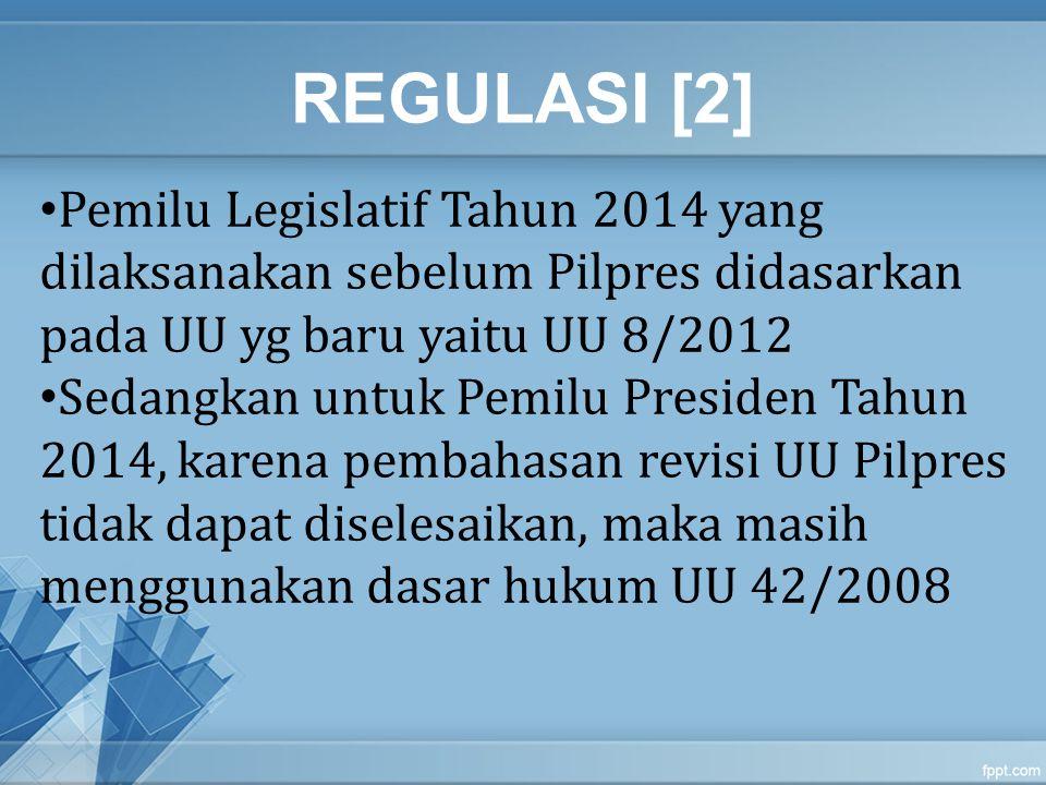 REGULASI [2] Pemilu Legislatif Tahun 2014 yang dilaksanakan sebelum Pilpres didasarkan pada UU yg baru yaitu UU 8/2012.